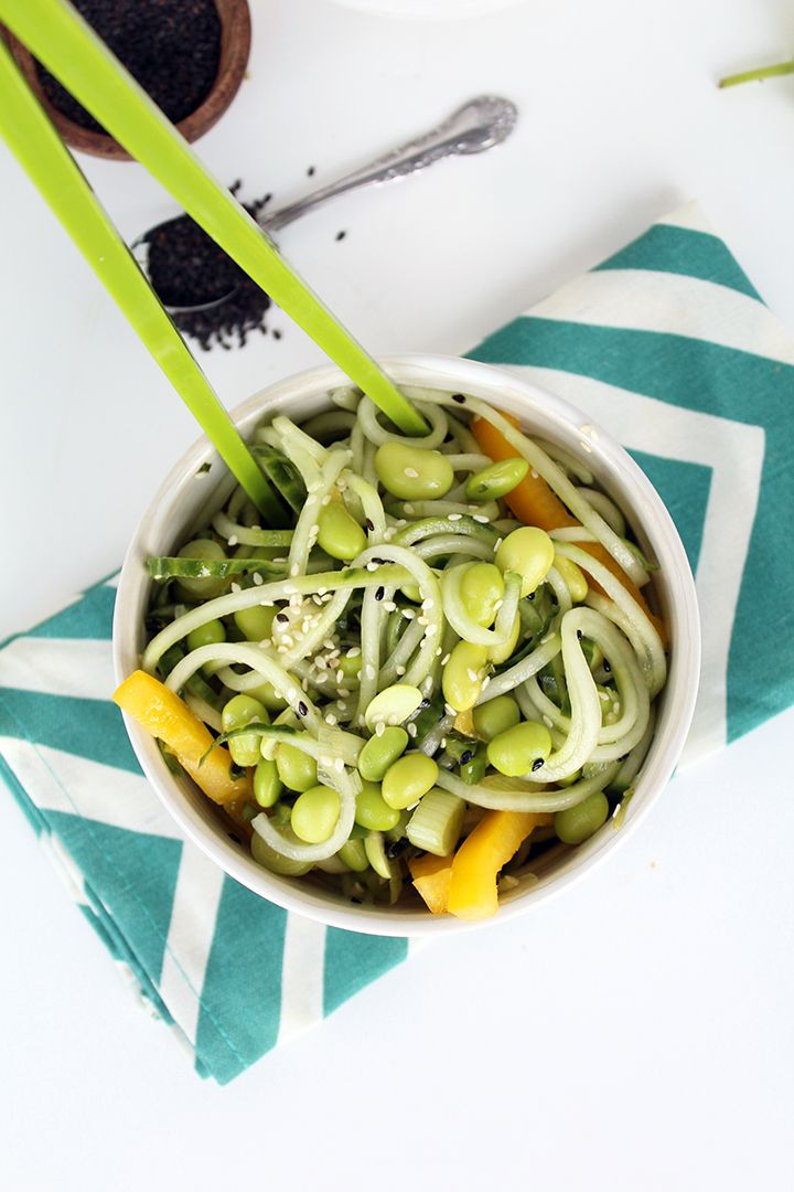 SesameGinger Cucumber Salad with Mint and Edamame  Recipe  Spiralized Noodles  Cucumber