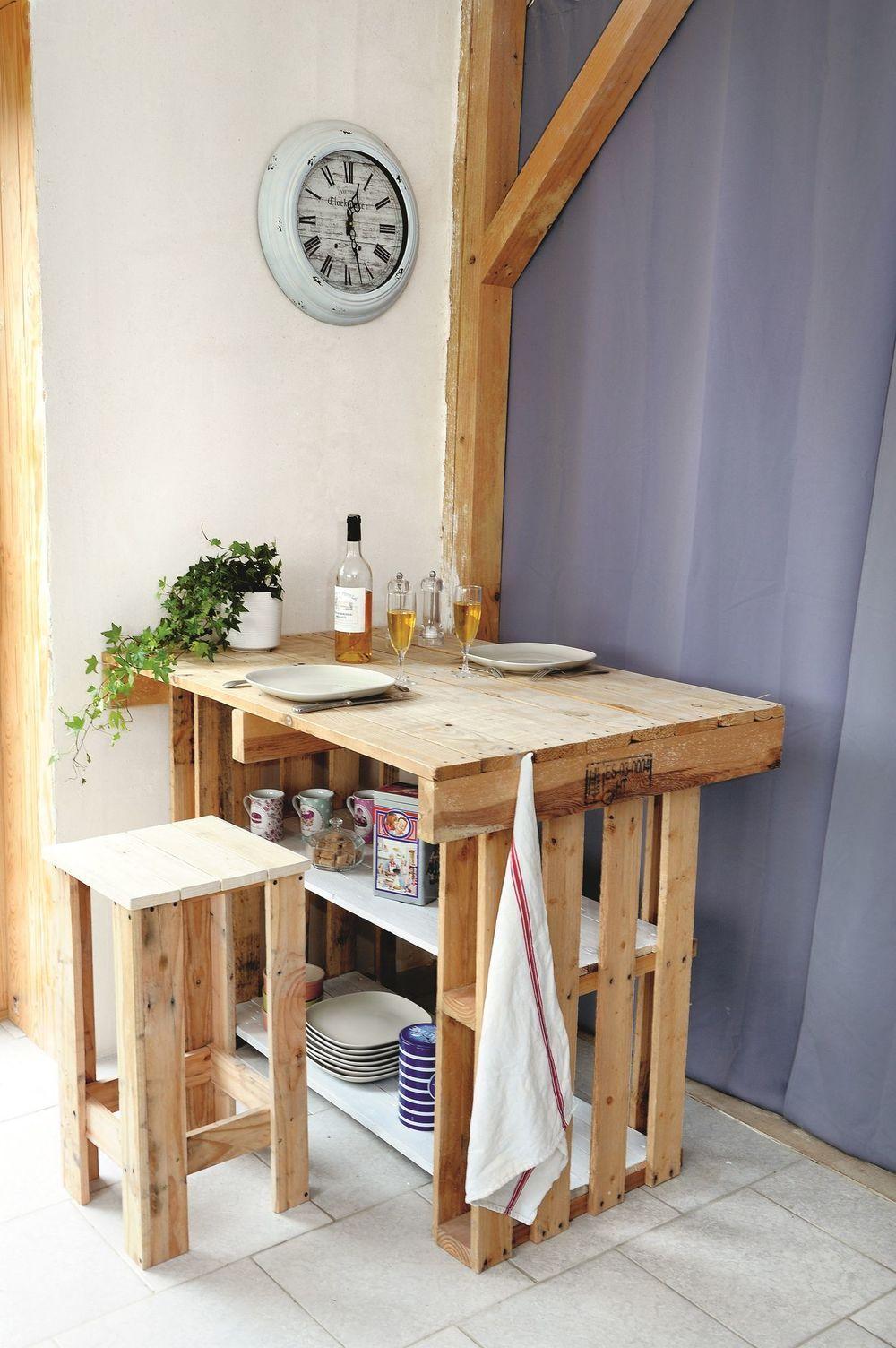Diy Creer Un Ilot Central Avec Des Palettes Ilot De Cuisine Palette Decoration Maison Palette