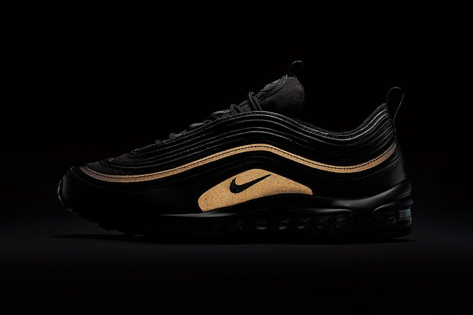 Nike Air Max 97 Gets An All Black Reflective Gold Look For Black Friday Nike Air Max 97 Nike Air Max Black Nike Shoes