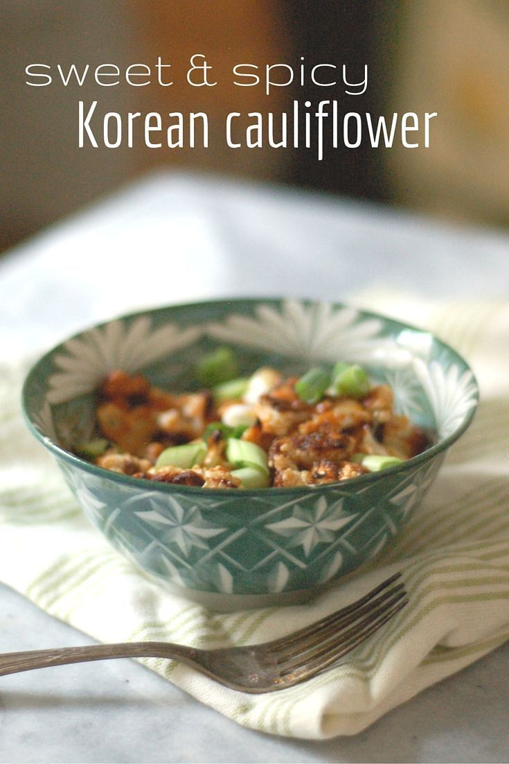 Roasted Cauliflower gets tossed in a sweet and spicy Korean barbecue sauce with gochujang. So so so good. Vegetarian. Vegan. Blossom to Stem | www.blossomtostem...