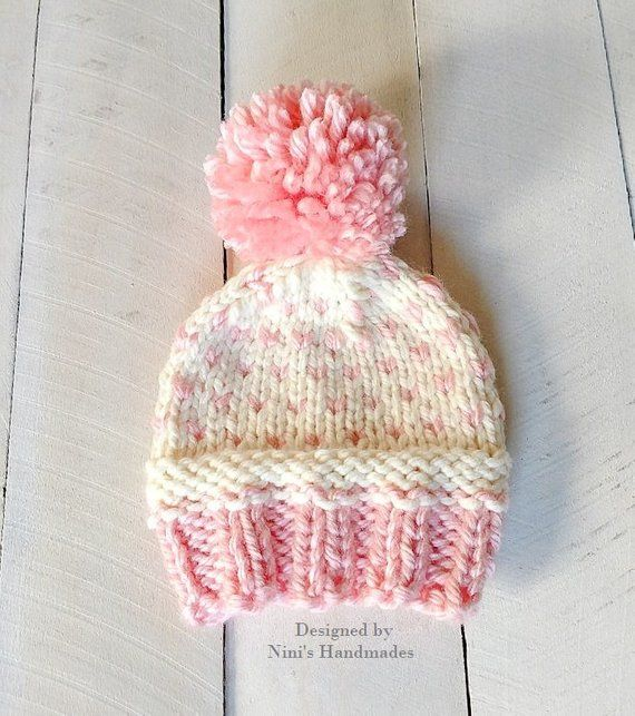 7686ea731b8 Extra Chunky Knit Rose Blush and Natural Creme Fair Isle Style Pom Pom Hat
