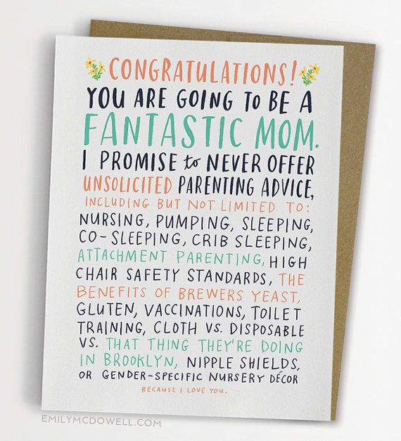 Unsolicited Parenting Advice Baby Card por emilymcdowellstudio
