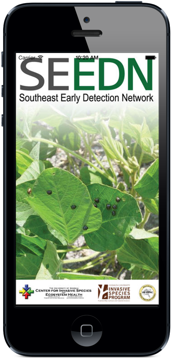 The Southeast Early Detection Network (SEEDN) app brings the power of EDDMapS to your smartphone. Now you can submit invasive species observations directly with your smartphone from the field. These reports are uploaded to EDDMapS and e-mailed directly to local and state verifiers for review.
