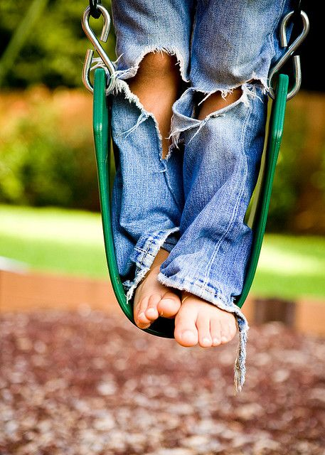 comfy jeans . barefoot . and a swing