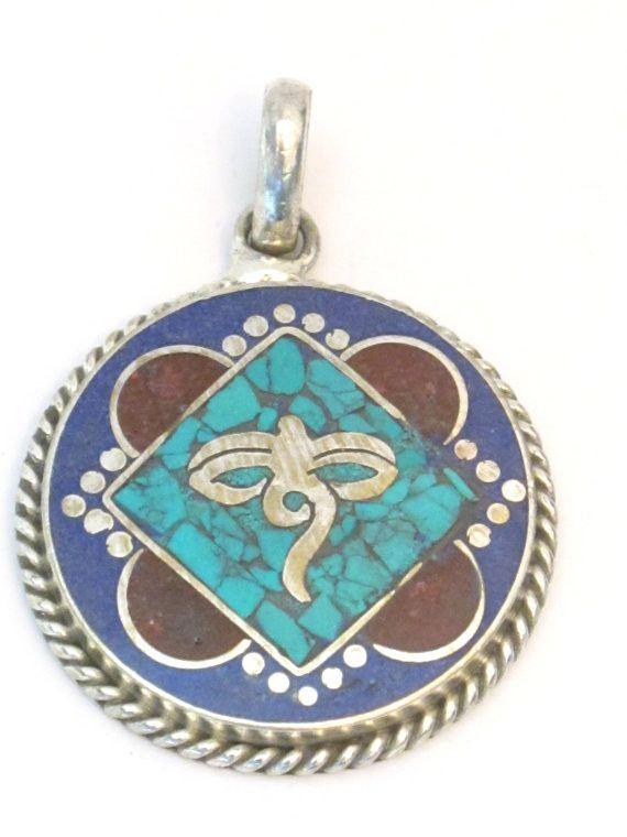 Tibetan Buddha Eyes Wisdom Symbol Pendant With Turquoise Coral And