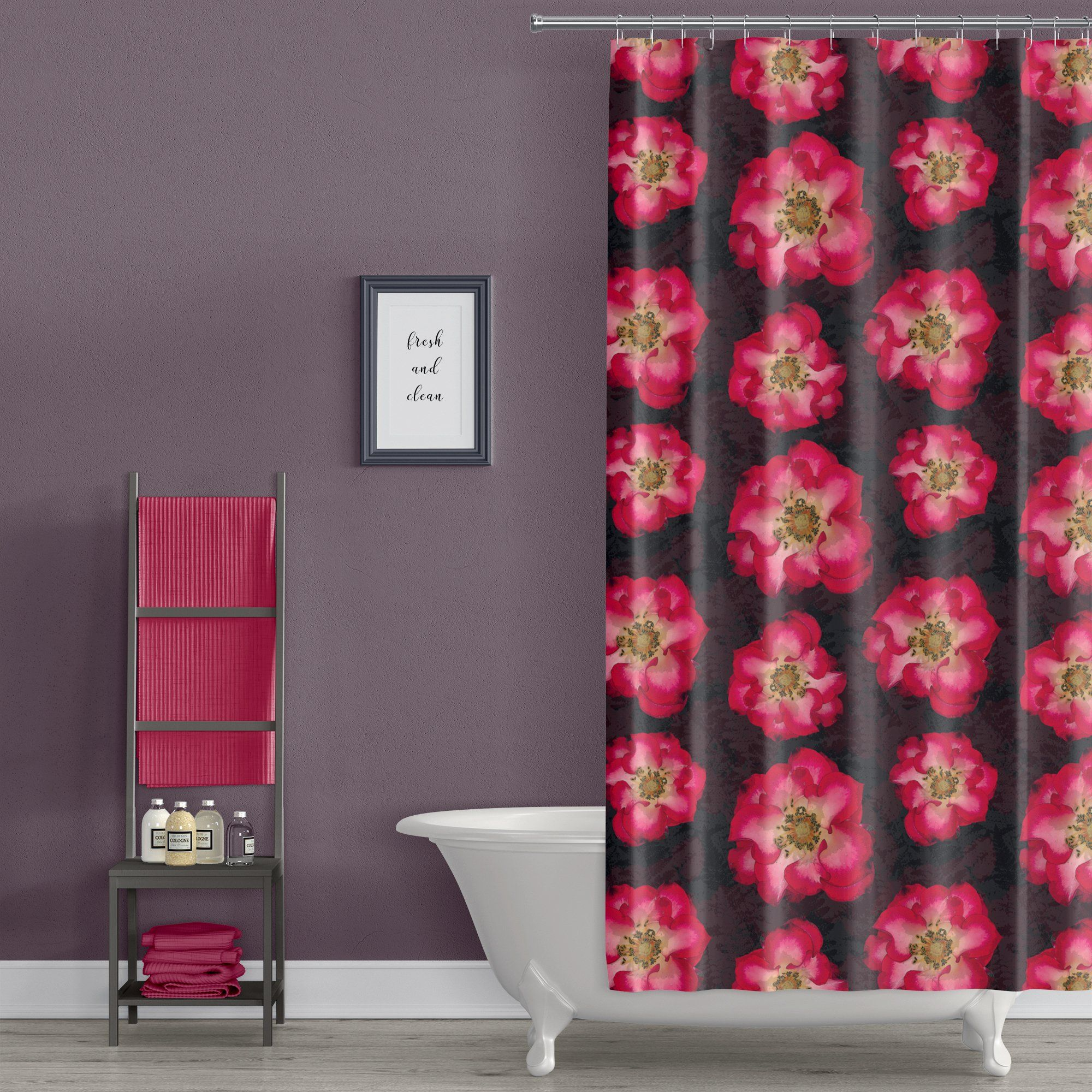 Red And Black Antique Rose Print Shower Curtain Simple Bathroom Decor Printed Shower Curtain Kid Bathroom Decor