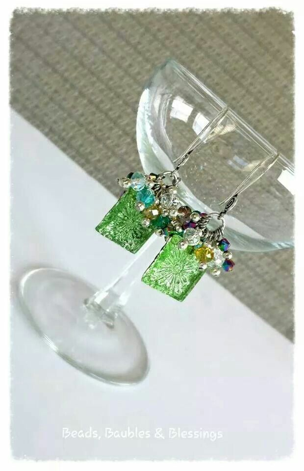 Earrings - Green Glass Window Like us on Facebook;  Beads, Baubles & Blessings Etsy shop;  beadsbaublesblessing