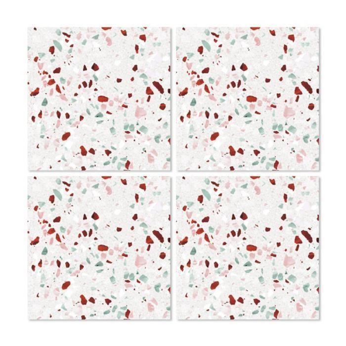 Stickers pour Carrelage de Salle de Bain ou Cuisine Terrazzo 03 - Set de 4 0,000000 Multicolore ...