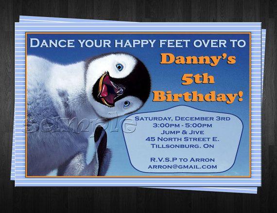 HAPPY FEET Birthday Invitation Custom By FinalTouchesArtwork 1000