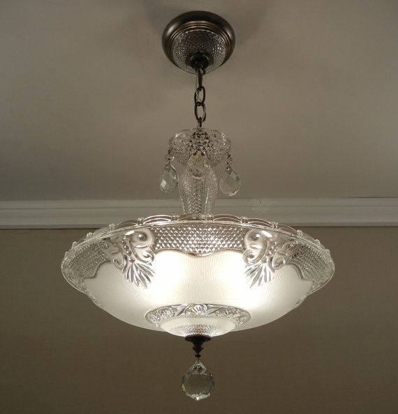 Antique Chandelier 1930 40 39 S Vintage English Hobnail Crystal Frosted Glass Ceiling Light Fixture