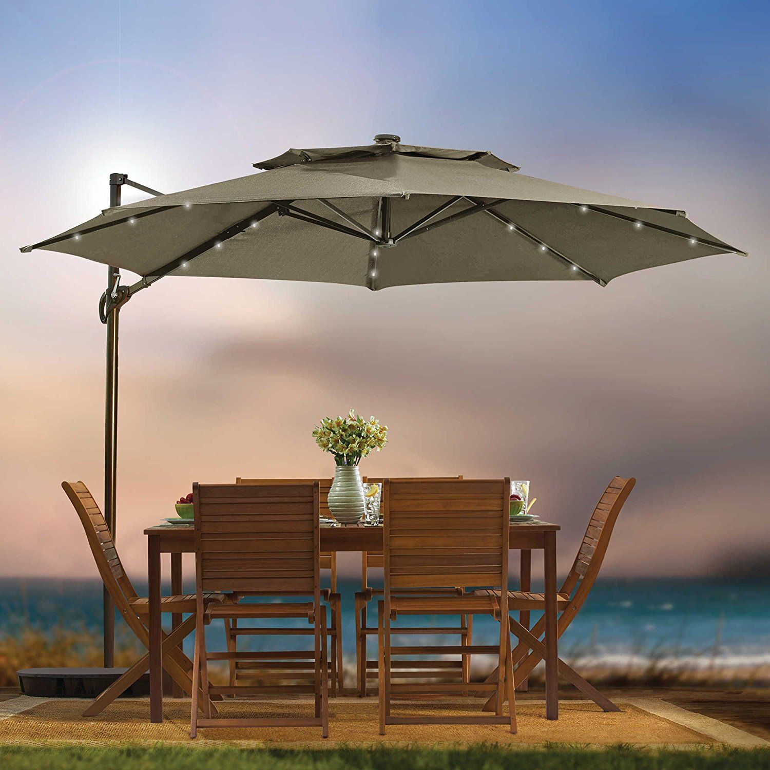 Amazon Com Destination Summer 11 Foot Round Solar Led Adjustable Cantilever Outdoor Patio Umbrella With Base And Patio Umbrellas Patio Patio Umbrella Lights