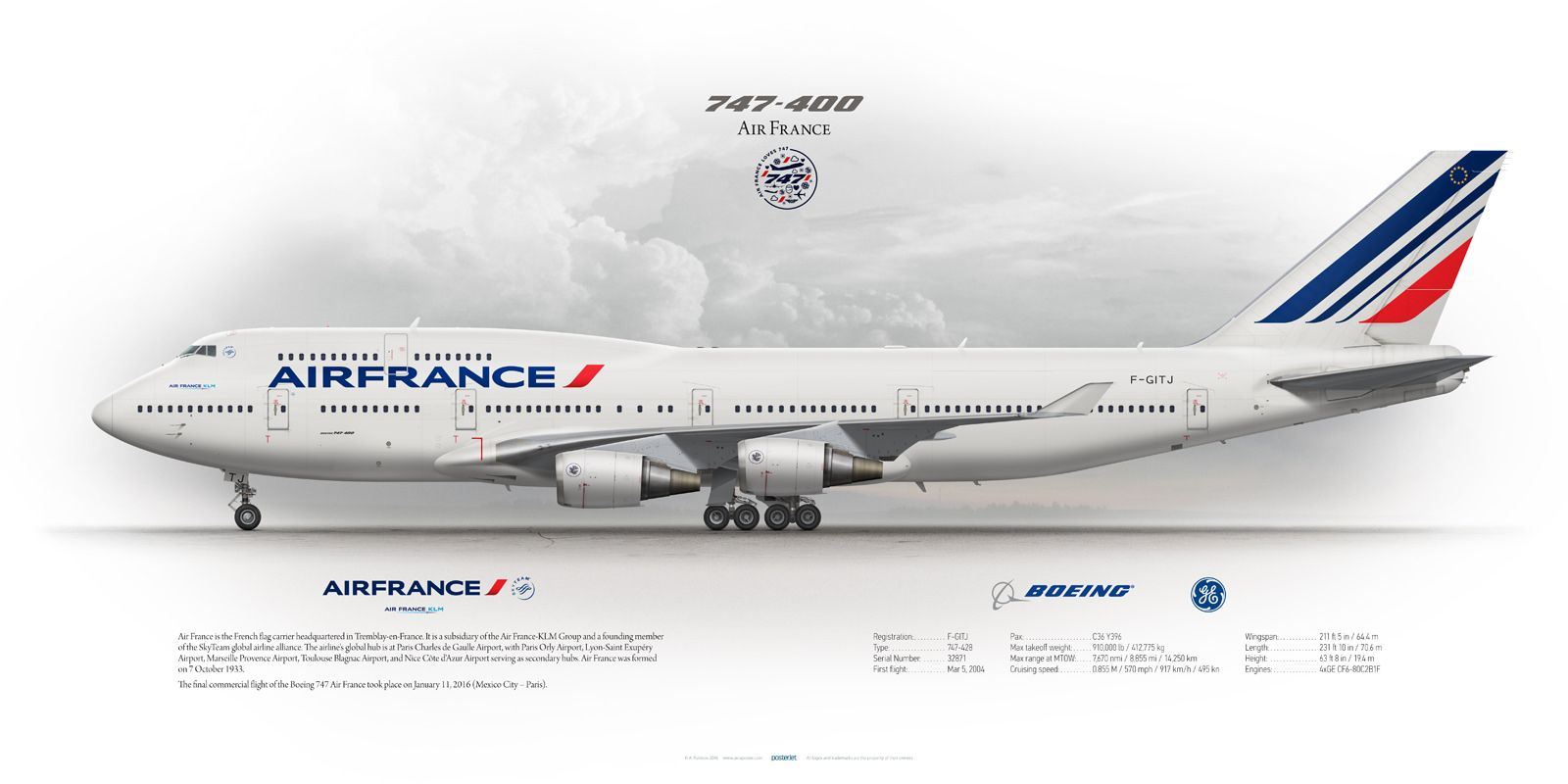 Boeing 747 400 air france f gitj boeing 747 400 air for Interieur 747 air france