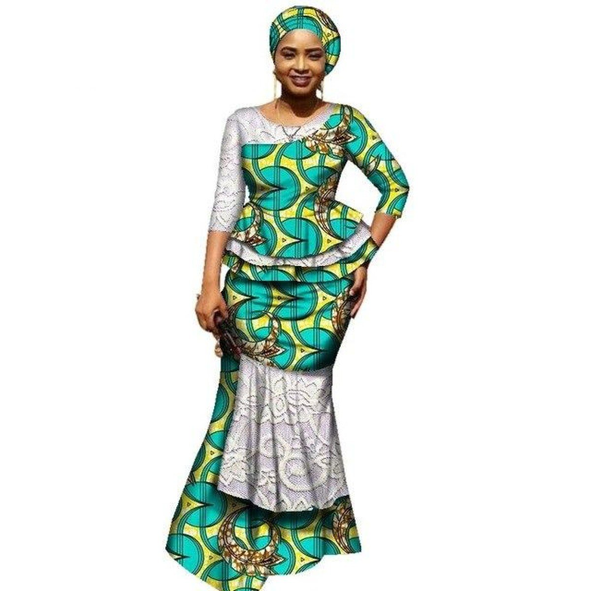 6ac9a6398 African Clothing Top and Long Skirt For Women Cotton Print Kitenge with  Scarf