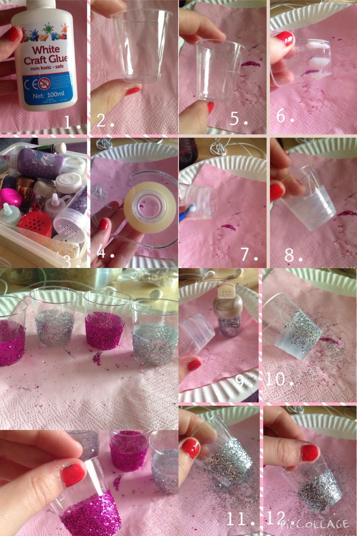 Really cute DIY. Shot glasses with glitter at the bottom