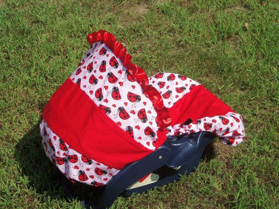 Ladybug baby car seat cover infant seat cover slip cover Graco Red