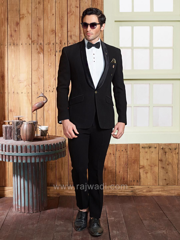 Stylish black terry rayon fabric suit rajwadi menswear