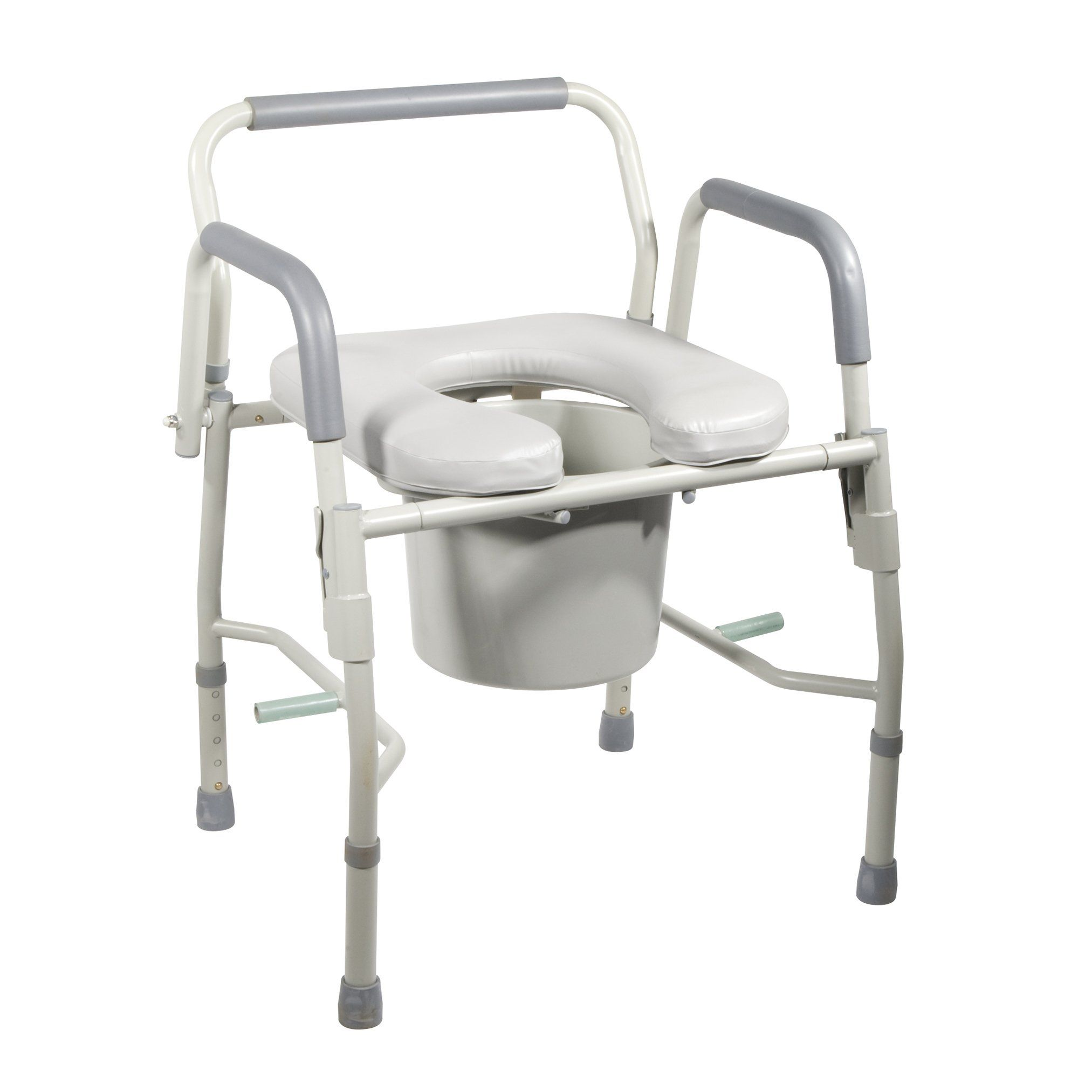 Drive Medical Steel Drop Arm Bedside Commode With Padded Seat And