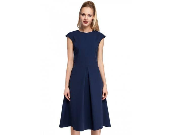 Clea Midi-Kleid A-förmiger Rock und Kellerfalte ,Farbe: Marineblau ...