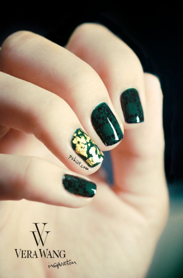 Nail art - Vera Wang nail art inspiration, green and gold nails