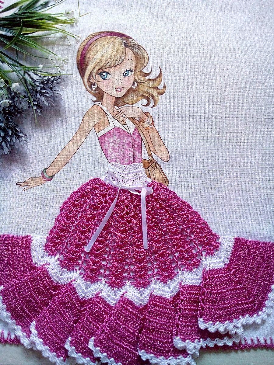 Pano De Copa De Menina Com Saia De Croche Medidas 50 X 76 Cm Sacaria 100 Algodao Da Marca Apuca Projetos De Croche Barrados De Croche Croche Pano De Prato