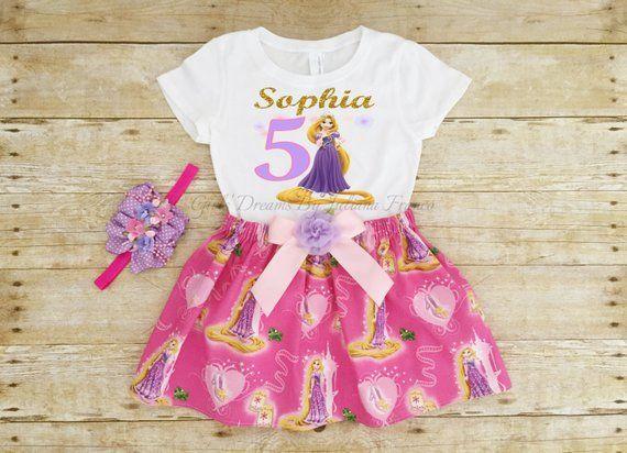 Tangled Birthday Outfit Rapunzel Tutu Personalized Shirt Girls