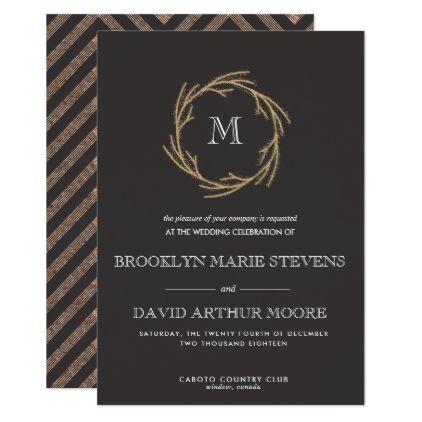 Magic Dust Wreath Monogram Wedding Invitation Winter Gifts Style