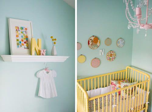 Jolie Chambre { Vert d\'eau , Jaune , Corail } | Pinterest | Chambres ...
