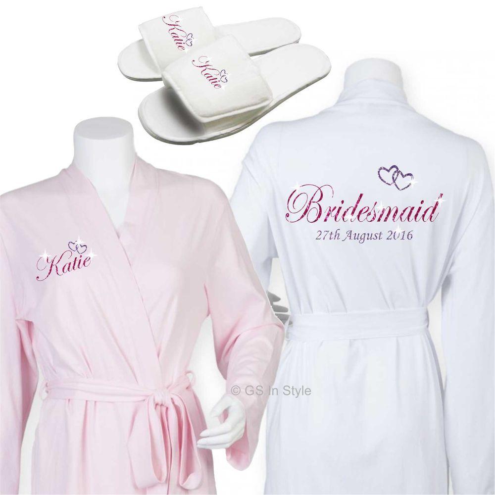 Personalised luxury cotton wedding robe dressing gown bride bridal ...