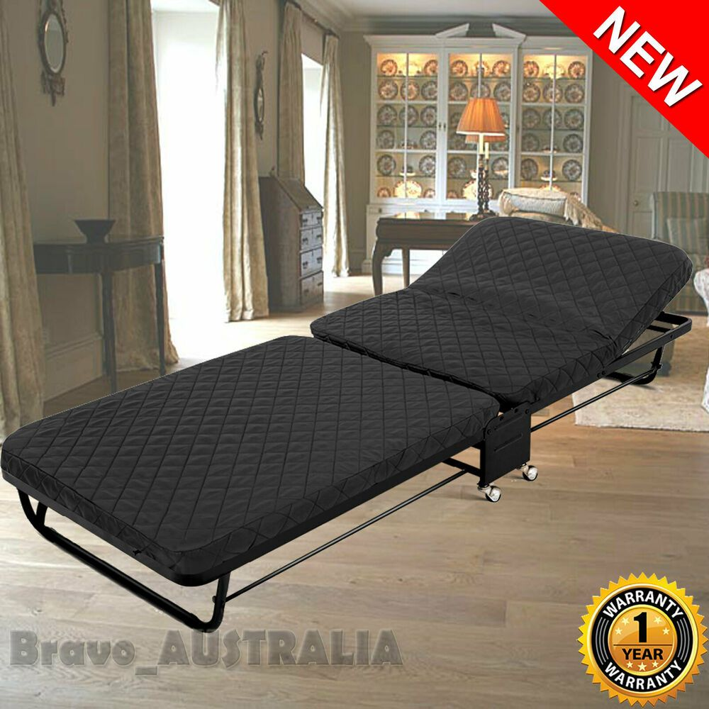 Portable Single Folding Bed w/ Mattress Camping Stretcher