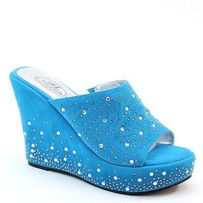 Women's Rhinestone Studded Wedge Platform Comfort Slide Sandals