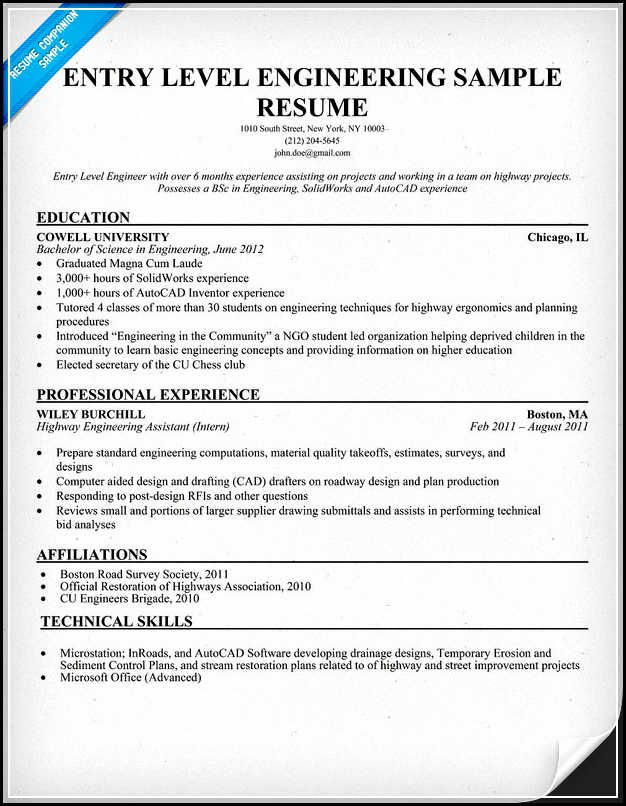 Microsoft Test Engineer Sample Resume Entry Level Engineering Resume Must Be Written Excellently Using