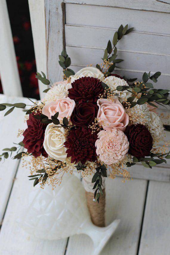 Marsala Pink Sola Bouquet, wedding bouquet, bridal bouquet, Marsala blush bouquet, maroon peach bouquet, sola flowers, country wedding #fantasticweddingbouquets