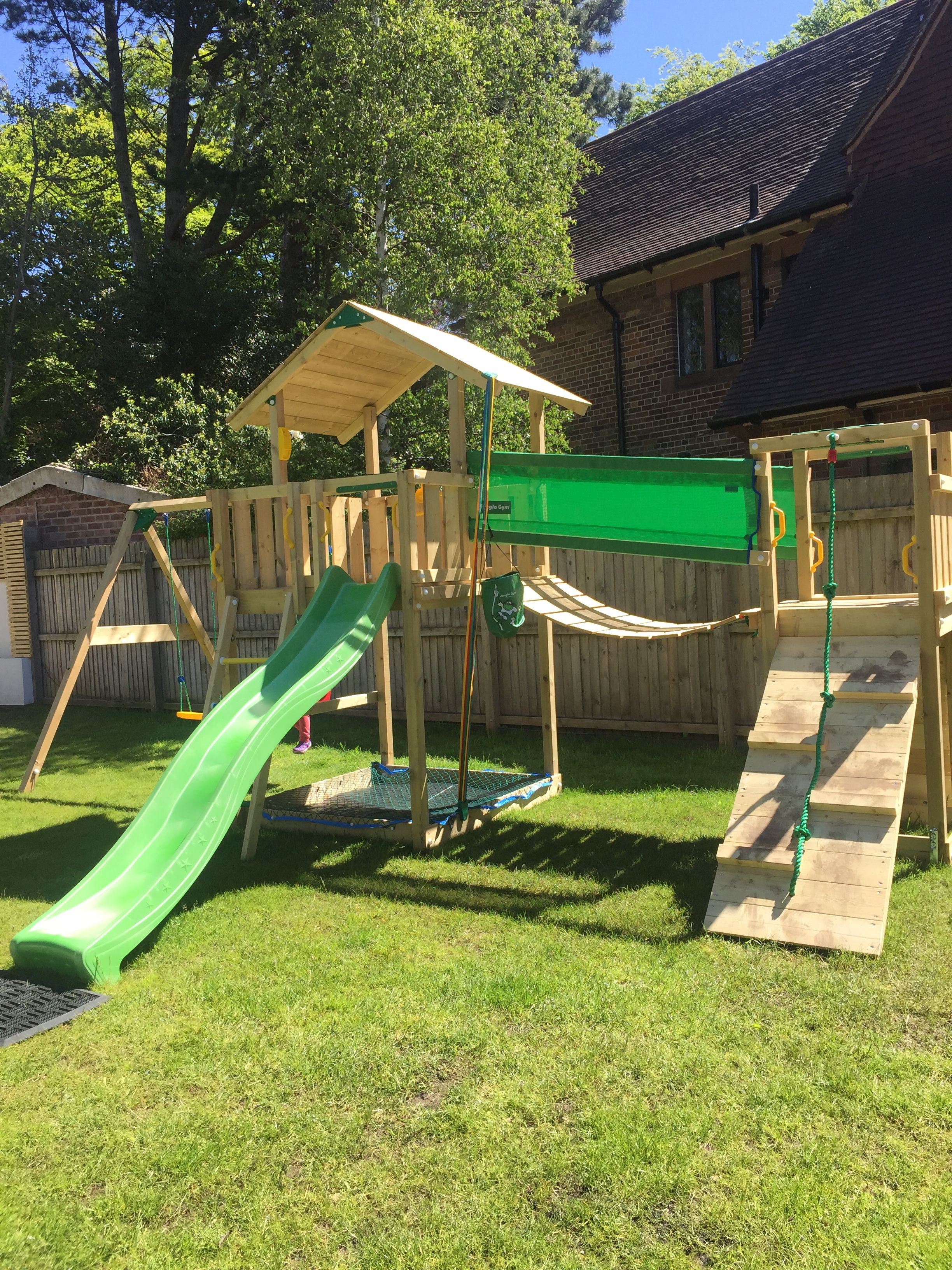 Jungle Gym combo Chalet, bridge module and swing module, supplied and  installed