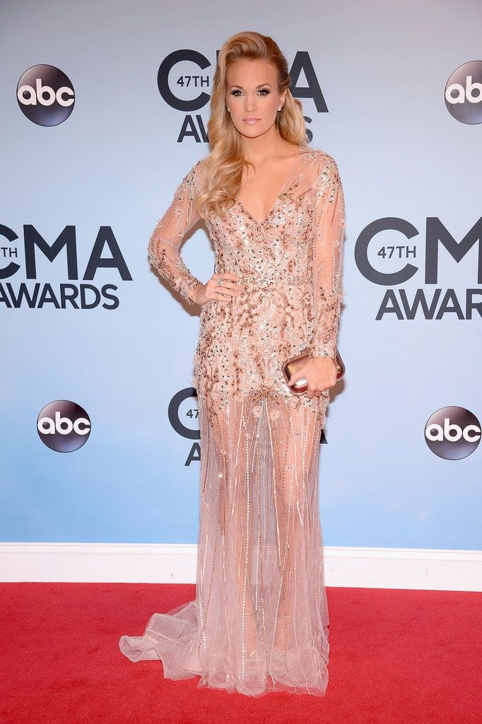Carrie U looks edgy, but feminine in this light pink beaded dress ...