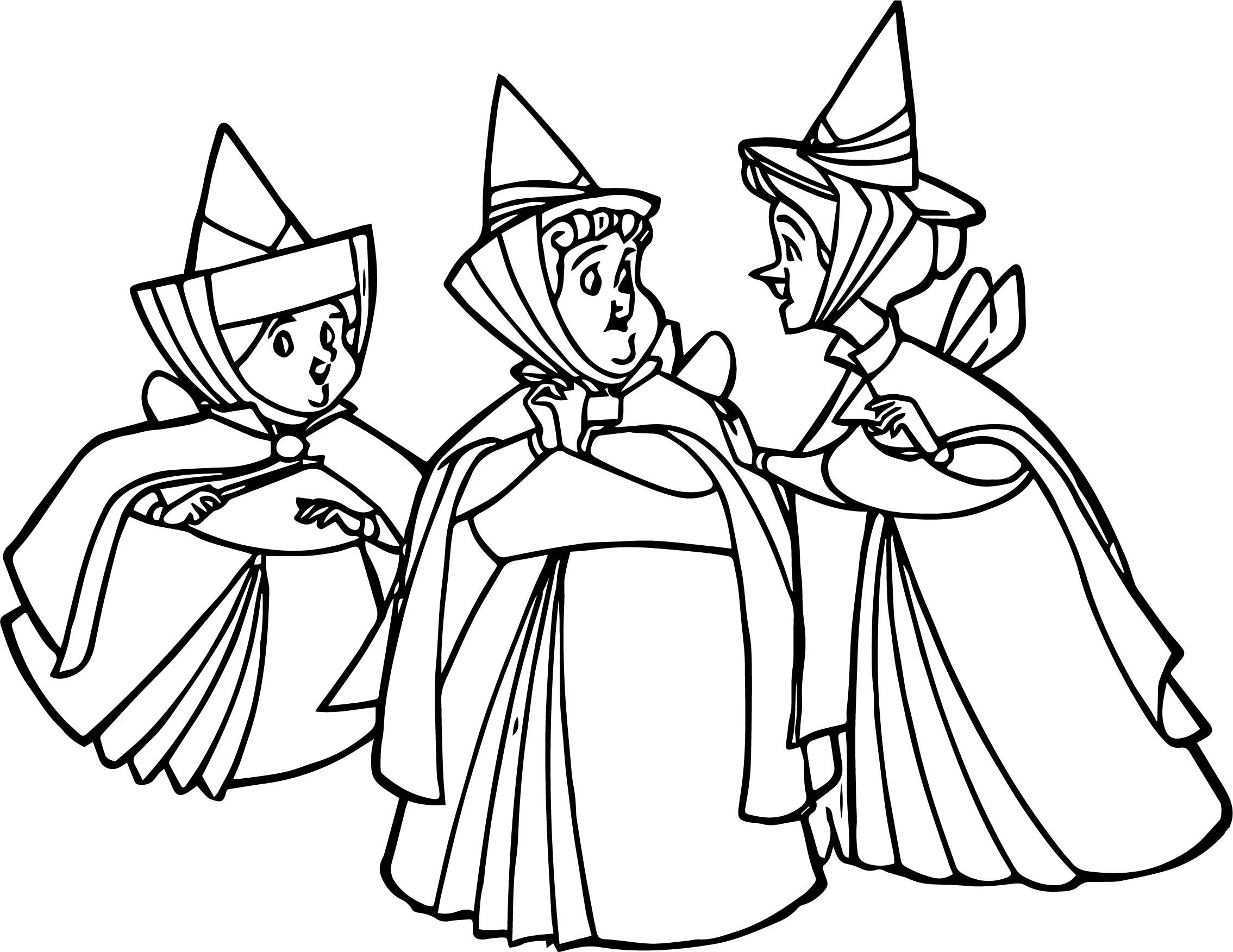 Aurora Flora Fauna and Merryweather Together Coloring ...