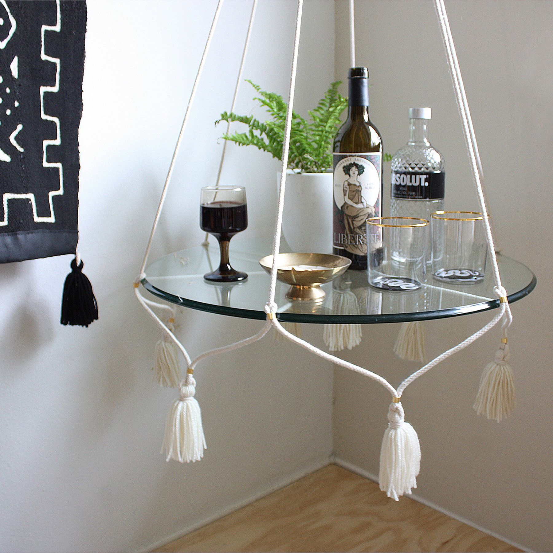 Suspended Shelves From Ceiling: Hanging Table/Plant Holder With Tassels