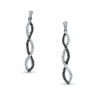 T W Enhanced Black And White Diamond Twine Earrings In 10k