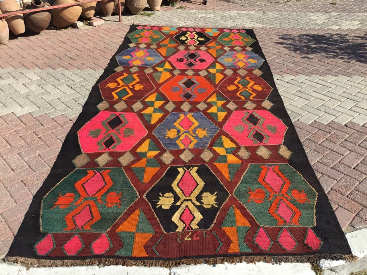 Large Area Rug Vintage Colorful Kilim Rug 158 X Etsy Colorful Kilim Colorful Kilim Rugs Colorful Area Rug