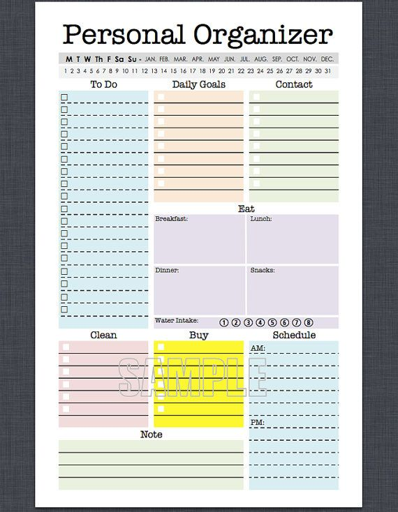 mini personal organizer half letter size editable daily planner weekly planner