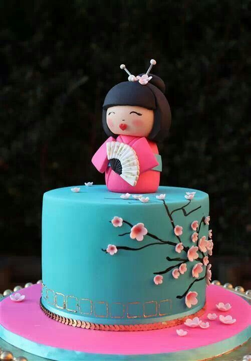 Amazing Japanese Theme Cake With Images Cherry Blossom Cake Doll Cake Personalised Birthday Cards Rectzonderlifede