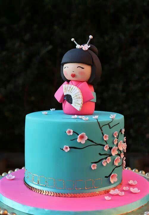 Awe Inspiring Japanese Theme Cake With Images Cherry Blossom Cake Doll Cake Funny Birthday Cards Online Inifofree Goldxyz