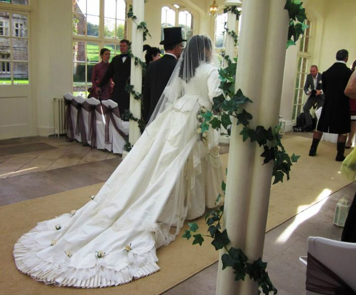 Victorioan Wedding Gown:Back View Of The Train, Unbustled