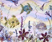 Aquarellkunst mit gepressten Blumen von Fisch Meerjungfrau Segelboot gepresste B…