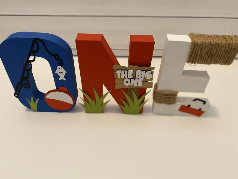 Oh Fishally One First Birthday Party Decorations   Boy Fishing Theme Decorative Freestanding Letters   Baby Boy First Birthday   Treat Table
