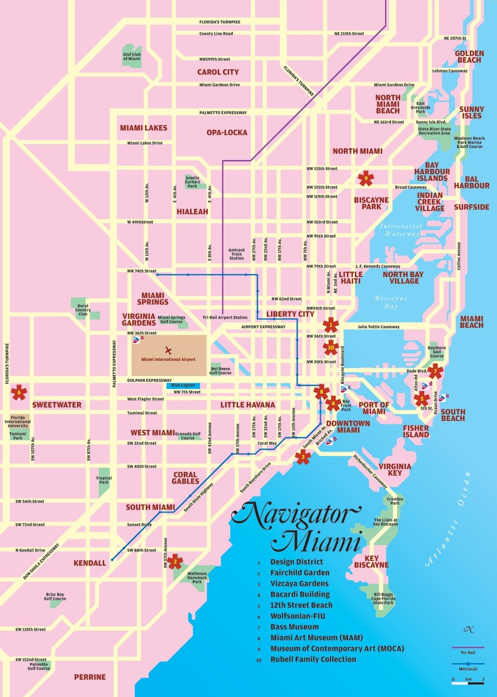 Miami Tourist Map Miami Florida  Mappery Miami Pinterest - Map of miami florida