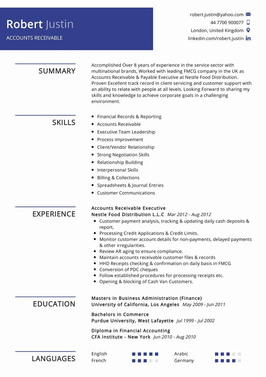 Account Receivable Resume Sample Best Of Accounts