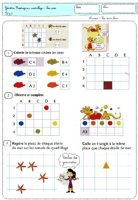 La vie en math en période 2 | Quadrillage ce1, Géométrie