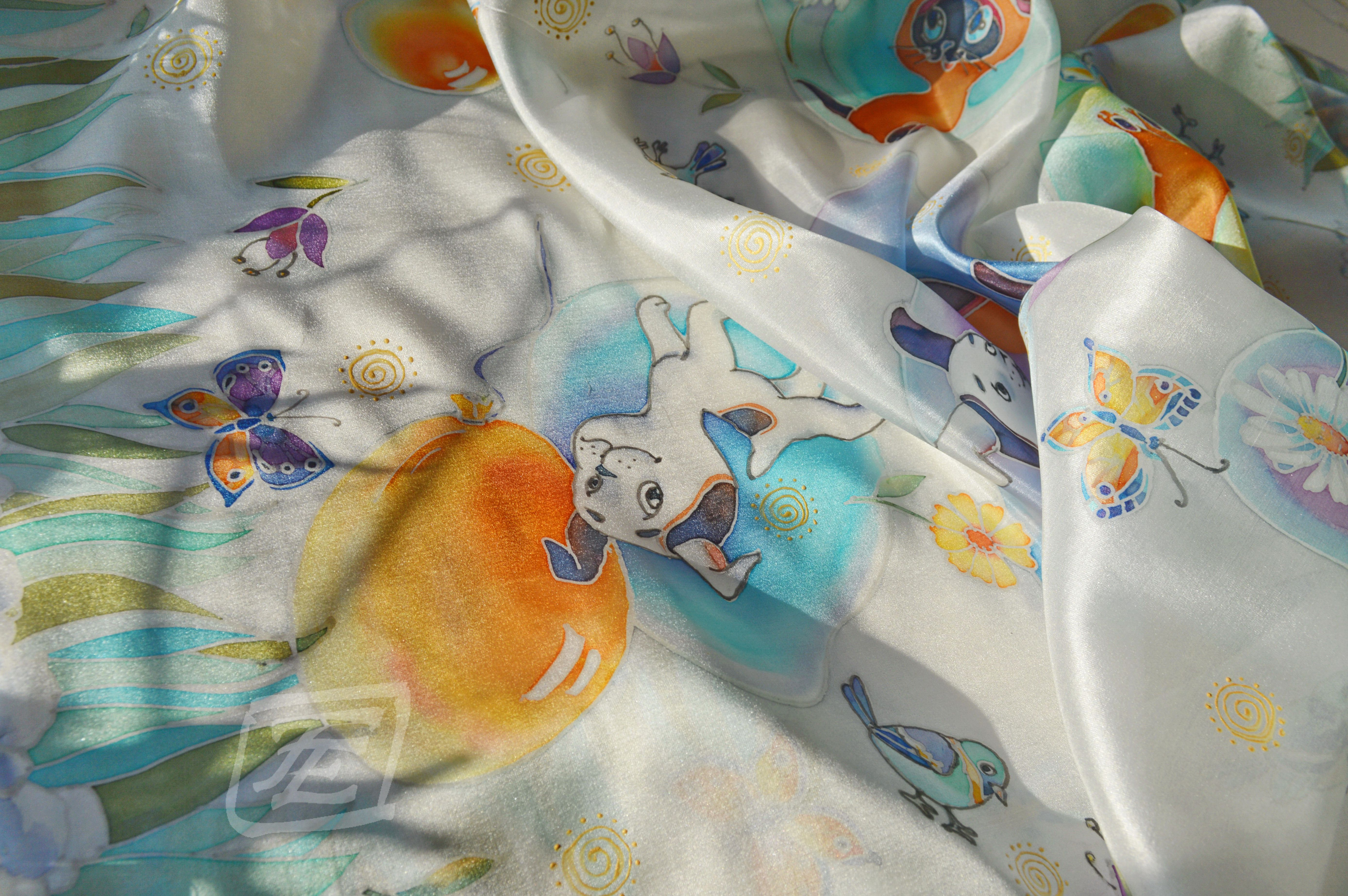 Hand-painted silk scarf with cartoon characters. By Leopolis Dreams