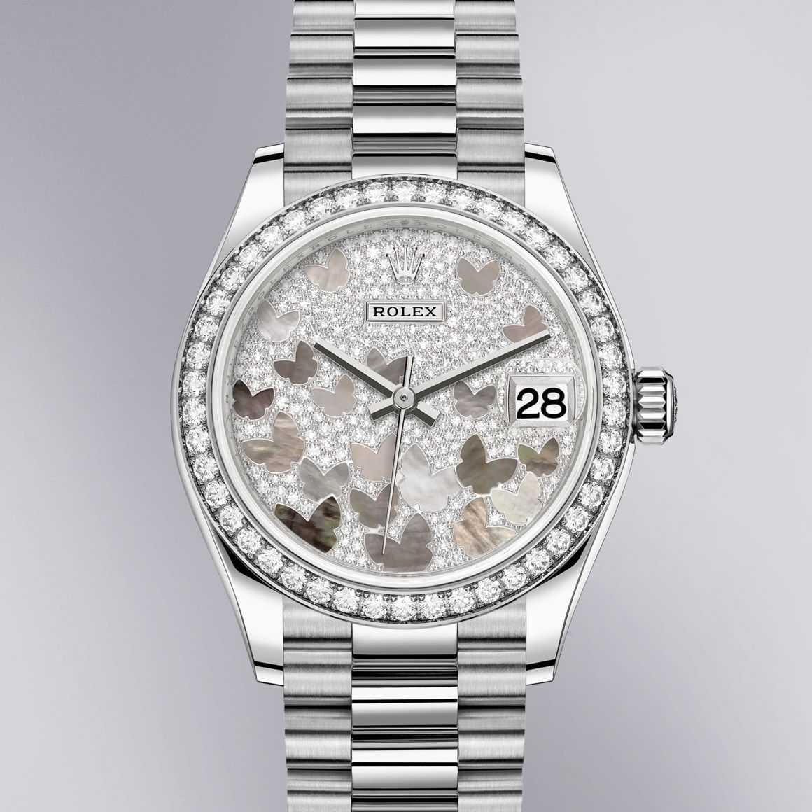 The Rolex Datejust 31 In White Gold And Diamonds 31 Mm Case Paved Mother Of Pearl Butterfly Dial President Bracelet Rolex Rolex Watches Classic Watches