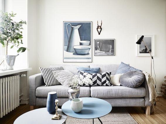 インテリアの参考になる茶白青の3色を使った部屋の画像22枚